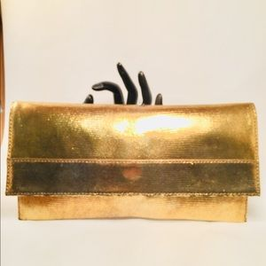 Banana Republic leather golden colored clutch